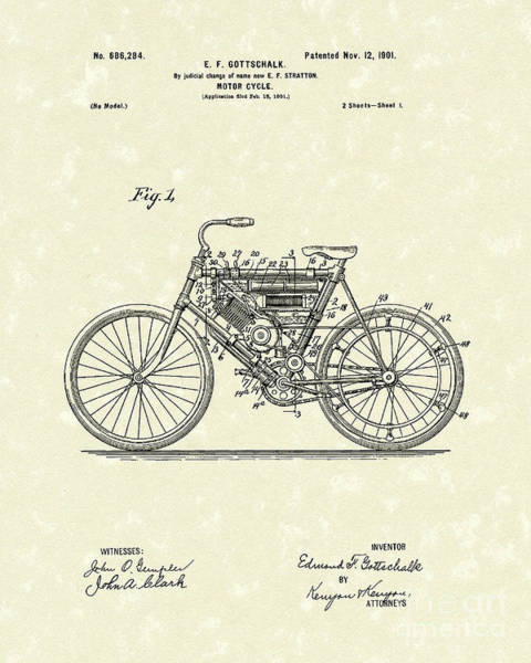 Drawing - Motorcycle 1901 Patent Art by Prior Art Design