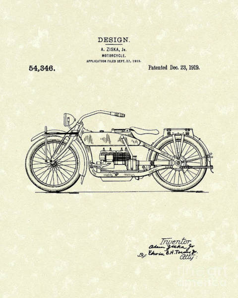 Wall Art - Drawing - Motorcycle Design 1919 Patent Art by Prior Art Design