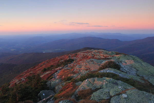Smugglers Notch Photograph - Mount Mansfield Dusk View North by John Burk