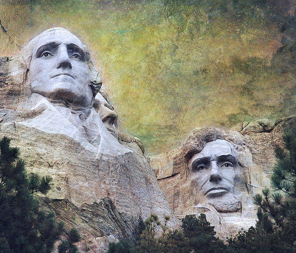 Mounted Photograph - Mount Rushmore - My Impression by Jeff Burgess