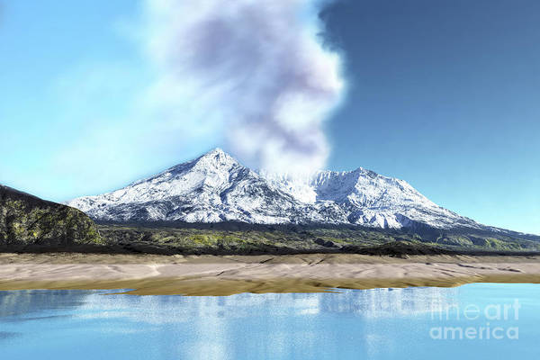 Ashes Digital Art - Mount Saint Helens Simmers by Corey Ford