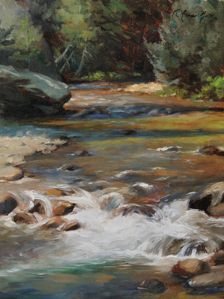 Rockies Wall Art - Painting - Mountain Stream by Anna Rose Bain