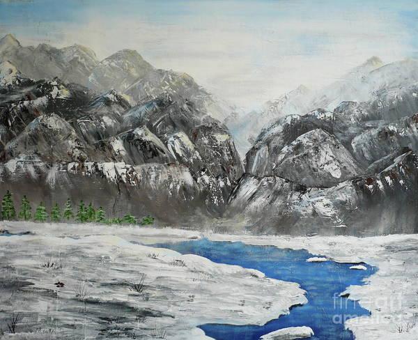 Painting - Mountain With Snowbank by Monika Shepherdson
