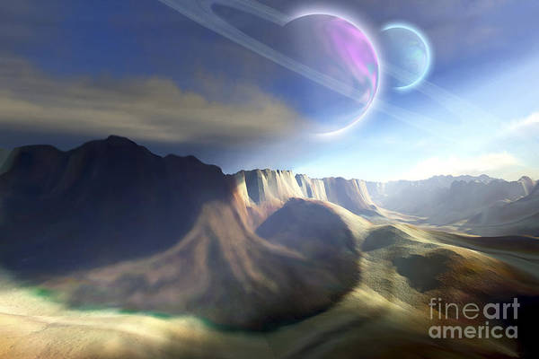 Digital Art - Mountainous Landscape On A Futuristic by Corey Ford