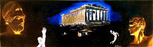 Painting - Mural - Night by Elly Potamianos