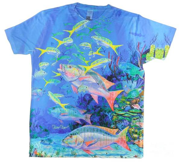 Reef Digital Art - Mutton Snapper Mens Shirt by Carey Chen