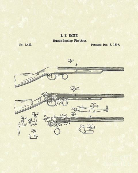 Rifle Drawing - Muzzle Loading Firearm 1839 Patent Art by Prior Art Design