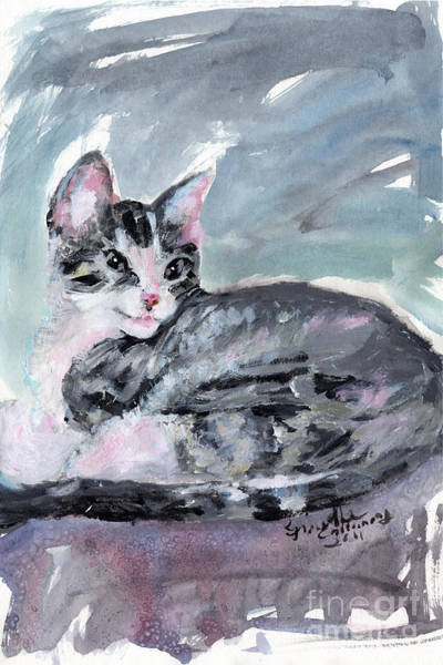 Painting - My Baby Buster Kitten Portrait by Ginette Callaway