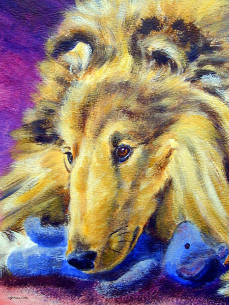 Teddy Bear Painting - My Blue Teddy - Shetland Sheepdog by Lyn Cook
