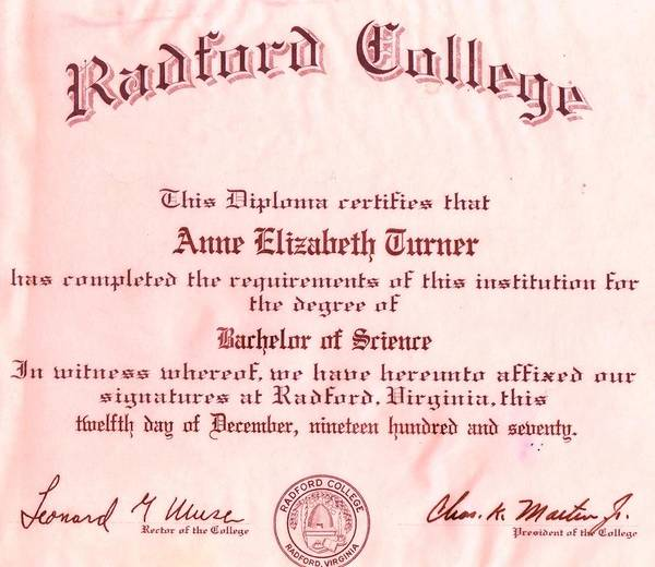 Radford Photograph - My College Diploma by Anne-Elizabeth Whiteway