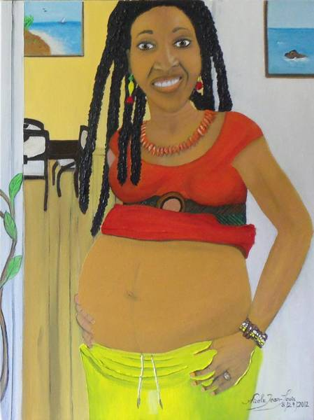 Pregnancy Painting - My Daughter With Child by Nicole Jean-Louis