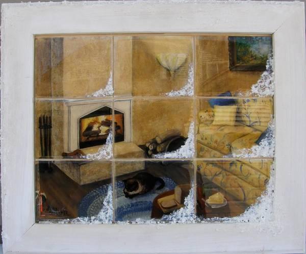 Painting - My Glowing Fire Framed by Lori Brackett