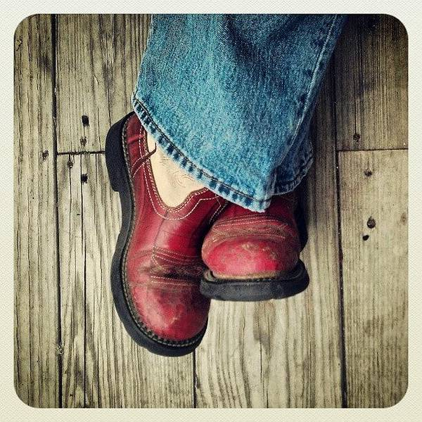Wall Art - Photograph - My Mom's Dirty Red Boots by Emma Holton