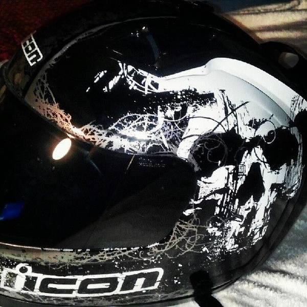 Death Wall Art - Photograph - #my #motorcycle #helmet #skull #death by Sean Baxter