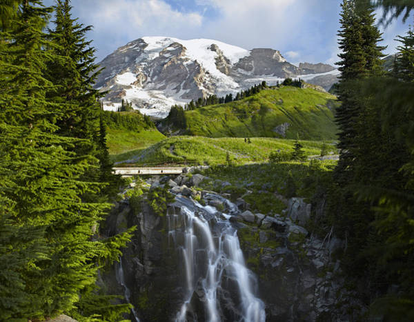 Photograph - Myrtle Falls And Mount Rainier Mount by Tim Fitzharris