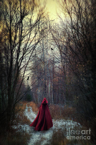 Photograph - Mysterious Figure Wearing Red Cape Walking In Woods by Sandra Cunningham