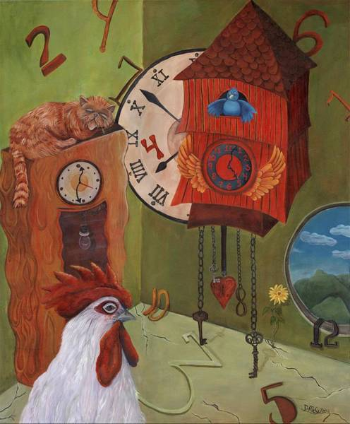 Grandfather Clock Painting - Mysterious Time by Debbie McCulley