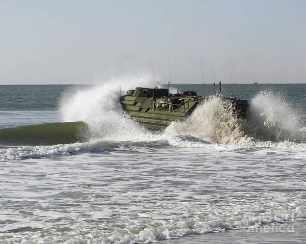 Aav Photograph - N Amphibious Assault Vehicle Splashes by Stocktrek Images