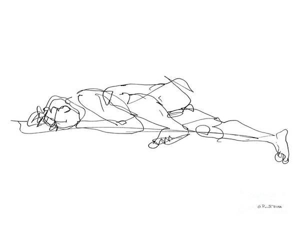 Drawing - Naked-man-art-17 by Gordon Punt