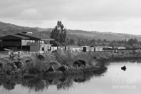 Napa River In Napa California Wine Country . Black And White Art Print
