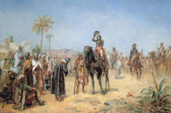 Dromedary Wall Art - Painting - Napoleon Arriving At An Egyptian Oasis by Robert Alexander Hillingford