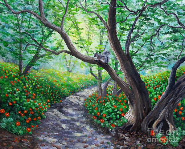 Nasturtiums Wall Art - Painting - Nasturtiums On A Spring Morning by Laura Iverson