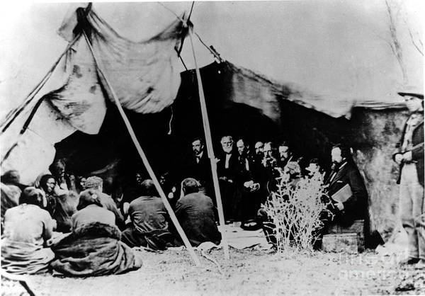 Delegation Photograph - Native American Indian Meeting by Photo Researchers