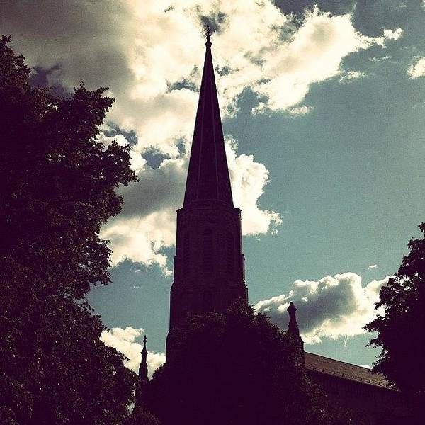 Religious Wall Art - Photograph - #nature #trees #leaves #church #steeple by Jenna Luehrsen