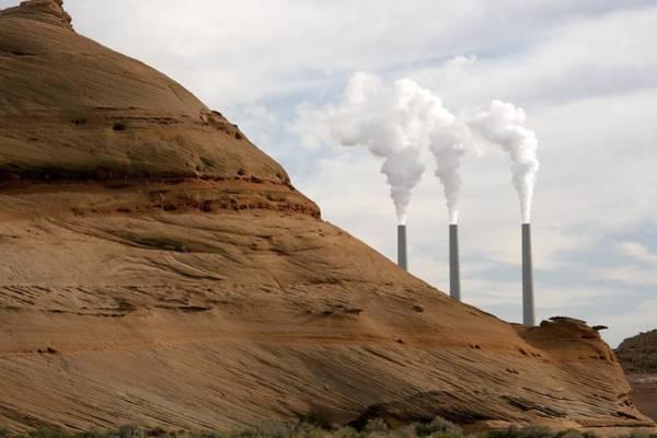 Chimnies Photograph - Navajo Power Station, Arizona, Usa by Bob Gibbons