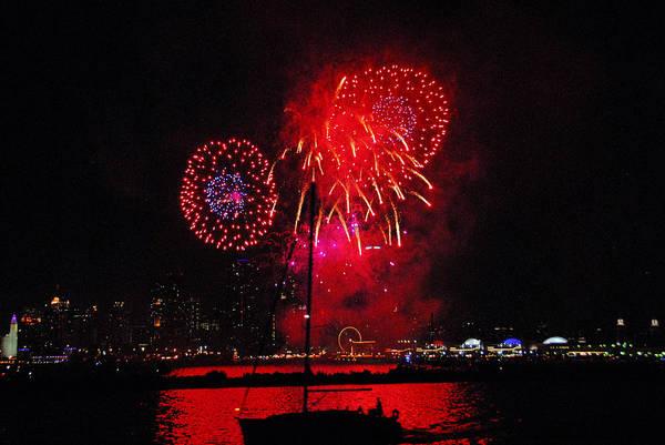 Photograph - Navy Pier Fireworks 2 by Lynn Bauer