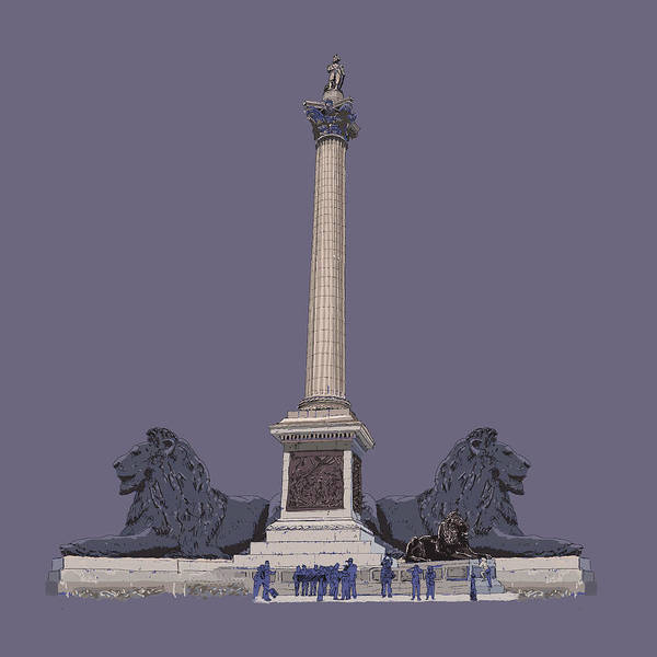 Town Square Digital Art - Nelson's Column, Trafalgar Square, London by Simon Carter