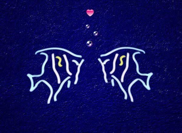 Dehner Digital Art - Neon Fish Love by David Dehner