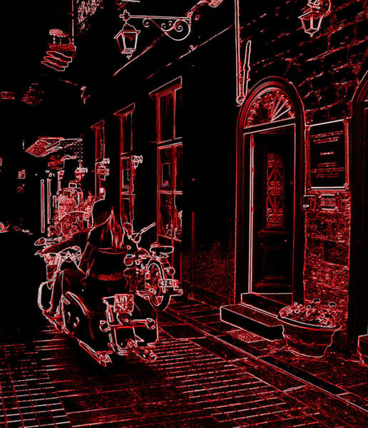 Photograph - Neon Look Girl Riding Motorcycle Bike Rider Speed Stone Paved Street In Nafplion Greece by John Shiron