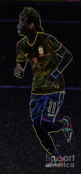 2010 Fifa World Cup Wall Art - Photograph - Neon Neymar II by Lee Dos Santos