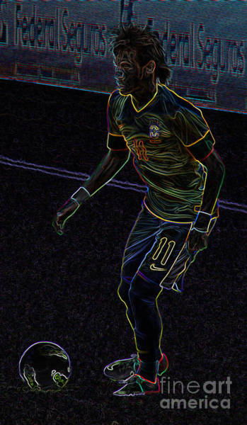 2010 Fifa World Cup Wall Art - Photograph - Neon Neymar by Lee Dos Santos