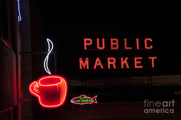 Photograph - Neon Public Market by Timothy Johnson