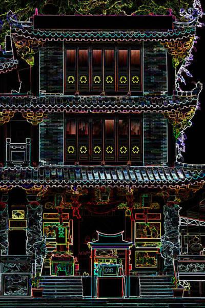Digital Art - Neon Temple by Ray Shiu