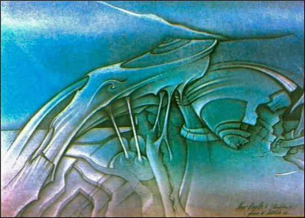 Organic Form Drawing - New Earth4 1992 by Glenn Bautista