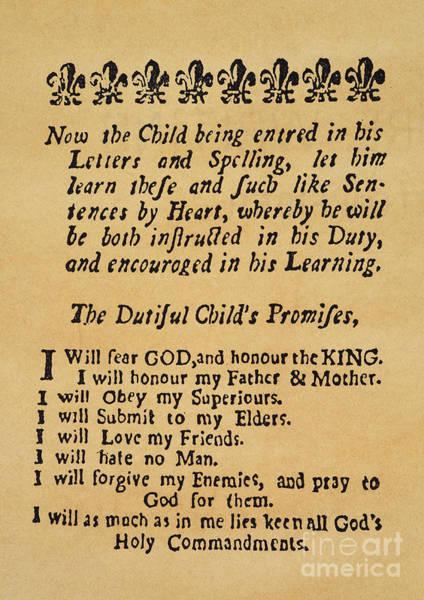 Photograph - New England Primer, 1727 by Granger