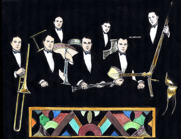 Nostalgia Drawing - New Orleans Rhythm Kings by Mel Thompson