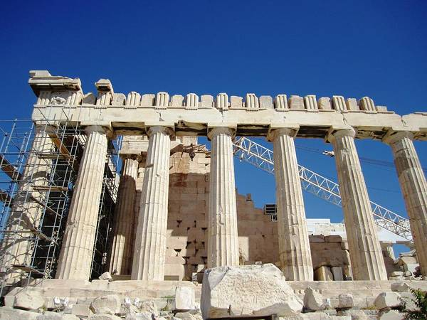 Photograph - New Renovation Crane Meets Old Ancient Parthenon Architecture At Acropolis In Athens Greece by John Shiron