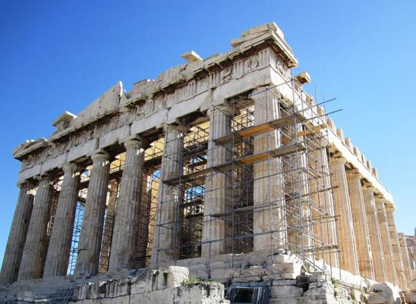 Photograph - New Renovation Meets Old Ancient Parthenon Architecture At Acropolis In Athens Greece by John Shiron