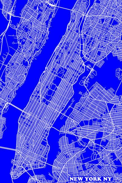Keith Urban Wall Art - Photograph - New York City Map Streets Art Print   by Keith Webber Jr