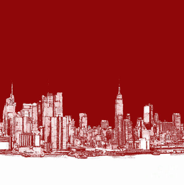 New York City Red Skyline  Art Print