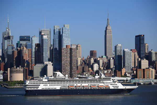 Holland America Line Wall Art - Photograph - New York City Skyline And Cruise Ship by Frank Romeo