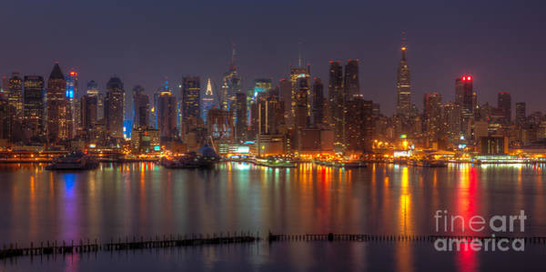Photograph - New York City Skyline Morning Twilight Xiv by Clarence Holmes