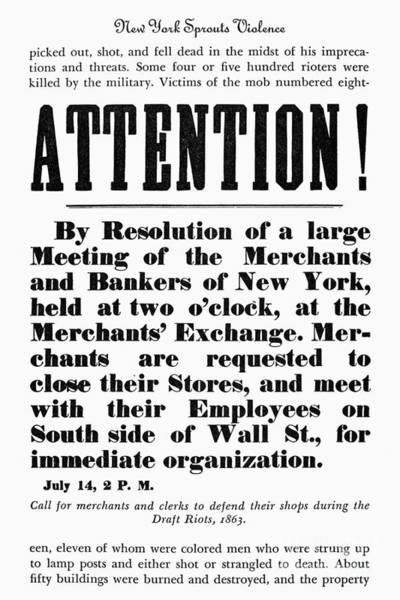 Photograph - New York: Draft Riots by Granger