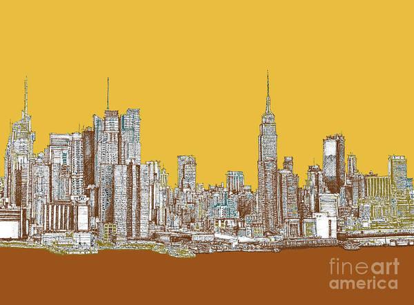 New York Mustard Sepia Art Print