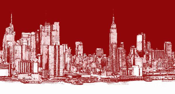 New York Rectangular Skyline Red Art Print