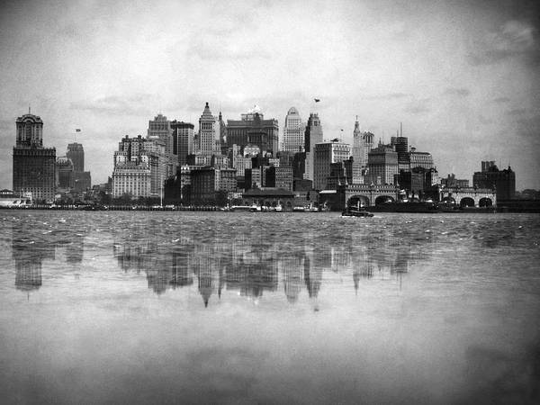 Battery Park Wall Art - Photograph - New York Skyline Reflected by Underwood Archives